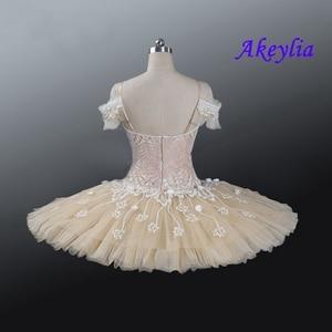 Image 2 - Tutu pour le ballet professionnel pour adultes, crème beige, tutu à fleurs, poupée féerique, classique, costume de scène rouge