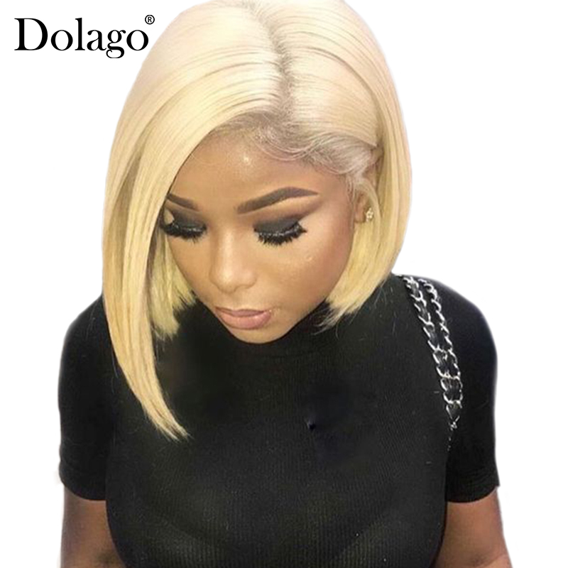 613 Lace Front Human Hair Wigs Straight Short Bob Wigs 150 Density Honey Blonde Transparent Lace Wigs Dolago Colorful Wig Remy-in Human Hair Lace Wigs from Hair Extensions & Wigs