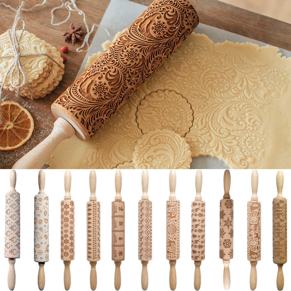 Christmas Wood Elk Print Embossed Rolling Pins Embossing Baking Noodle Cookies Kitchen Tool Reindeer Snowflake Cake Decorating