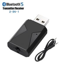 USB 2 in 1 Bluetooth 5.0 Receiver & Transmitter Stereo Wireless Audio Adapter USB 3.5mm Jack With Mic(China)