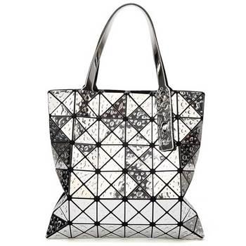 6*6 Newest Tote Bags Geometry Drip Japan Style Women Geometry Bao Tote Handbag Laser Diamond Lattice Shopper Folding Bag - Silver