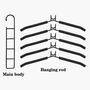 Image 5 - Multi layers Clothes Hanger 5 in 1 Detachable Pants Holder Wardrobe Anti Slip Sponge T Shirt Jeans Rack Space Saving Organizer