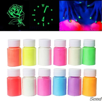 12 Color Luminous Resin Pigment Kit Glow In the Dark Powder Pigment Colorant Dye T4MD uv reactive glow in the dark pigment powder long afterglow yellow green invisible white 1000 g with maximum brightness