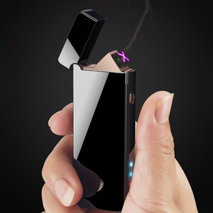 Image 1 - معدن مزدوج قوس USB قابلة للشحن ولاعة يندبروف البلازما عديمة اللهب الولاعات الكهربائية للسجائر LED عرض الطاقة