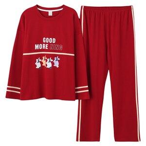 Image 5 - Plus Size 5XL Sleep Lounge Pajama Long Sleeve Top + Long Pant Woman Pajama Set Cartoon Print Pyjamas Cotton Sleepwear For Women