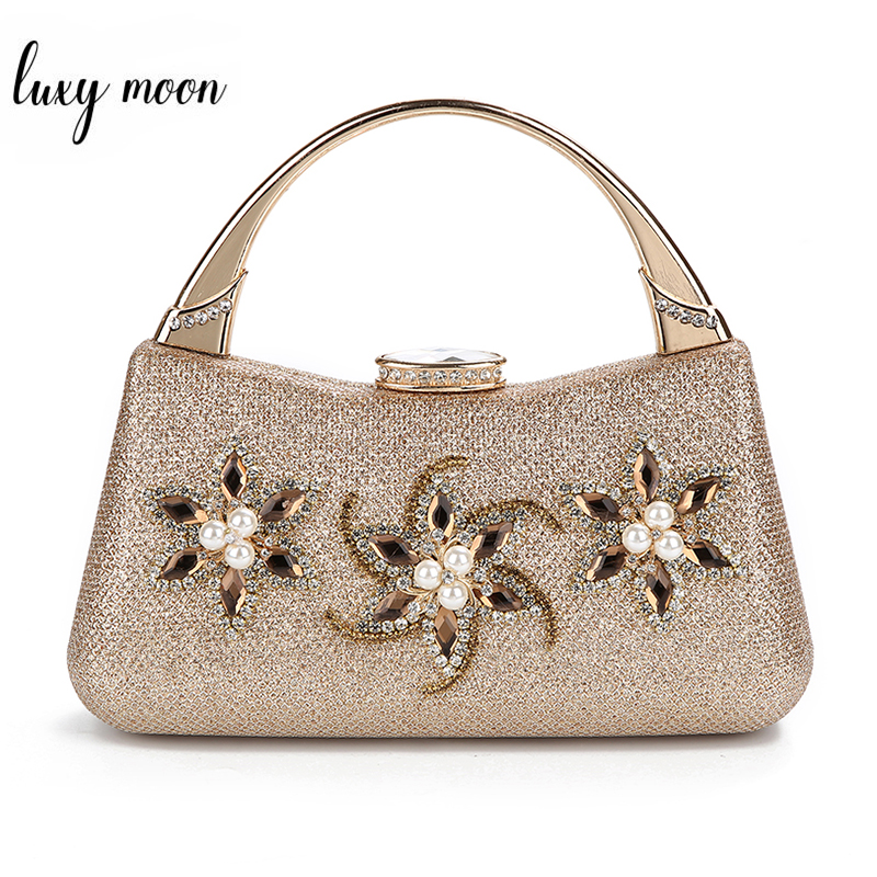 Luxury Diamond Women Clutch Bag Exquisite Female Handbag Wedding Party Purse Evening Bags Flower Beaded Clutches Shoulder Bag