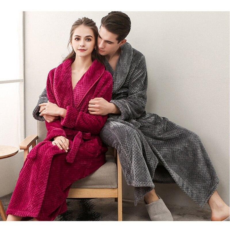 2018 hiver Couple Long bébé polaire peignoir épais grande taille Robe pour hommes femmes défini taille à manches longues vêtements de nuit robes de nuit - 5