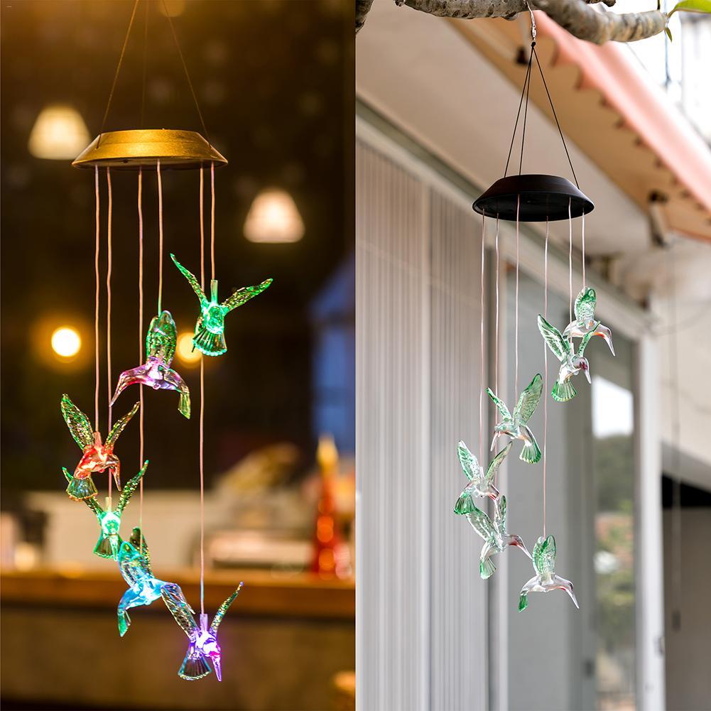 Solar Powered Hummingbird Wind Chime Light Color Changing LED Solar String Light Villa Yard Garden Decoration Landscape Lighting
