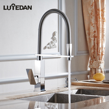 Lutedan Chrome Kitchen Sink Faucet With Pull out Sprayer Single Handle Mixer Tap Faucets quyanre black led orb kitchen faucet pull out sprayer 360 rotation single handle mixer tap sink faucet black rubber faucets