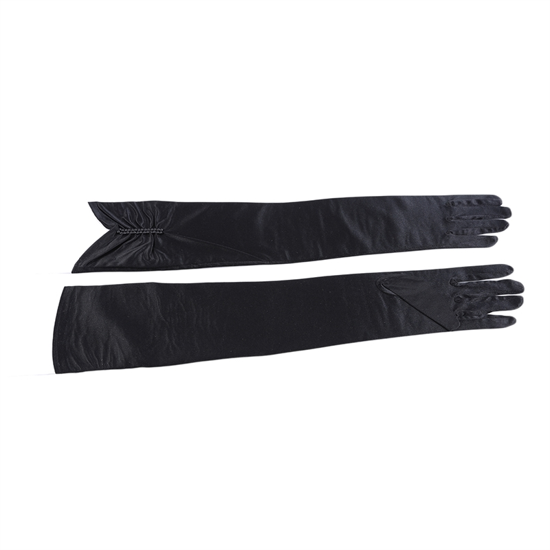 Fashion Kids Red Stretch Satin Long Finger Gloves For Flower Women Party Dress Beading Gloves