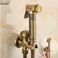 Wall Mounted Brass Bidet Faucet Toilet Sprayer Tap Antique Bathroom Mop Cleaning Faucet ,Hose+Holder+Sprayer