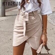 Affogatoo גבוהה מותניים זמש עור חצאיות 2018 סתיו חורף חגורת ruched bodycon חצאית נשים אסימטרית קצר חצאיות נקבה