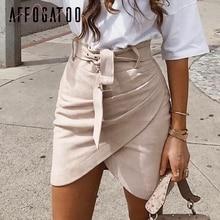 Affogatoo High waist suede leather skirts 2018 Autumn winter belt ruched bodycon skirt Women asymmetric short skirts female