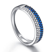 Drop shoping S925 Sterling Silver Band Ring For Woman,White CZ Blue Cubic Zirconia Fine Jewelry For Femal's Gift(China)