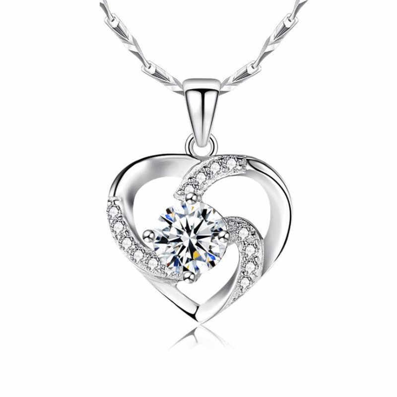 KOFSAC yeni lüks kristal CZ kalp kolye gerdanlık kolye 925 ayar gümüş zincir kolye kadınlar için düğün takısı hediyeler