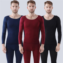 Men Autumn Winter Warm Long Underwear Set Home Seamless Elastic Thermal Inner Wear Thermal Underwear For Man cheap NY110103 Long Johns Polyester Blends spandex Navy Black red wine suitable for 50-90KG 155-180CM Ultra Elastic Under Your Favorite Outfits