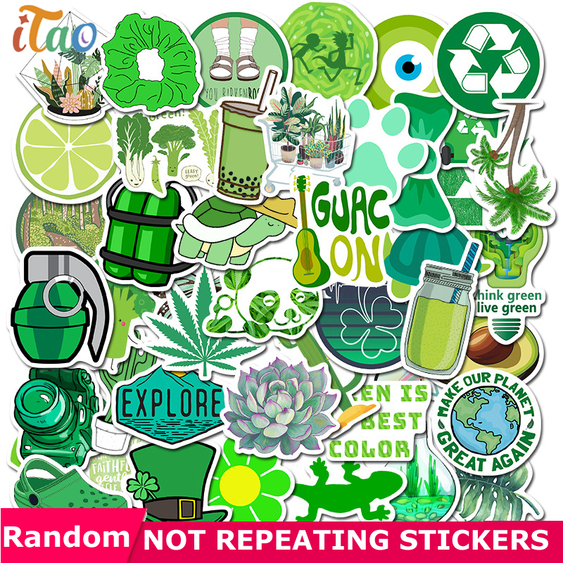 10/20/30/40/50PCS Cartoon Green Plant Stickers Waterproof PVC Skateboard Luggage Guitar Motorcycle Laptop Funny Sticker Kid Toys