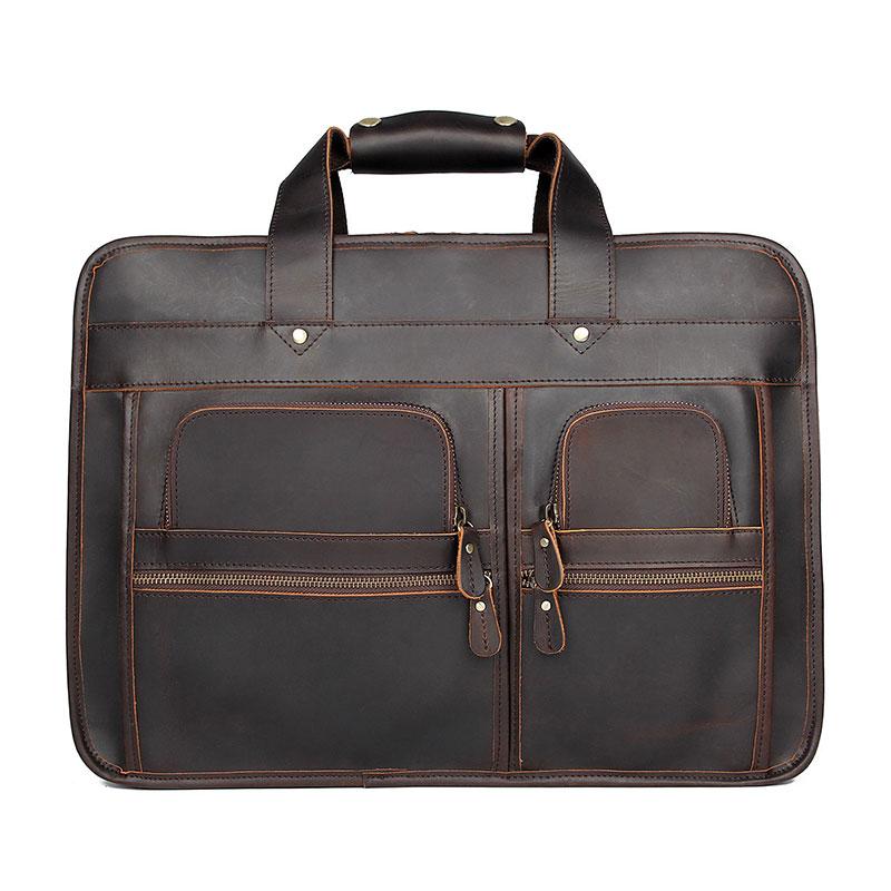 High Quality Real Leather Laptop Bag Men's Travel Portable Briefcase Vintage 15.6 Inch Handbag Messenger Bags 7387R