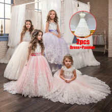 2020 Girls Dress Elegant White Bridesmaid Kids Dres