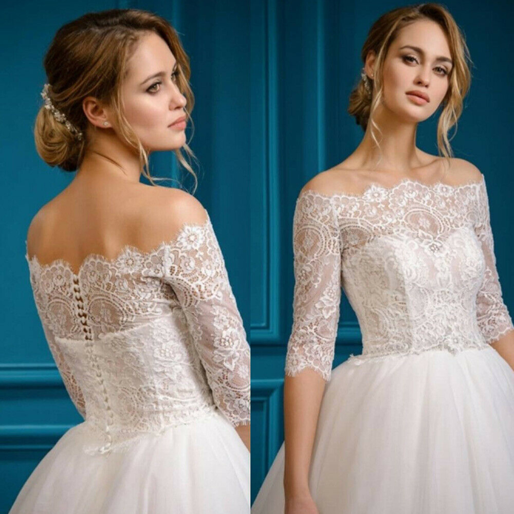 Elegant Wedding Top Lace Bolero Off Shoulder Half Sleeve Bridal Jacket Shrug New Bride Jackets
