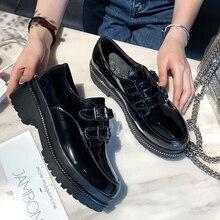 Zapatos negros Vintage zapatos de tacón alto de plataforma para mujer zapatos de moda Oxford para mujer zapatos cómodos Otoño Invierno 2019