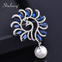 SINLEERY Luxurious Blue Cubic Zircon Peacock Pearl Brooch Pin Women's Fashion Accessories 2021 XZ185 SSK