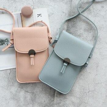 Dropshipping pantalla táctil teléfono celular bolso cartera Smartphone borla cuero bolso con correa para el hombro bolso de mujer
