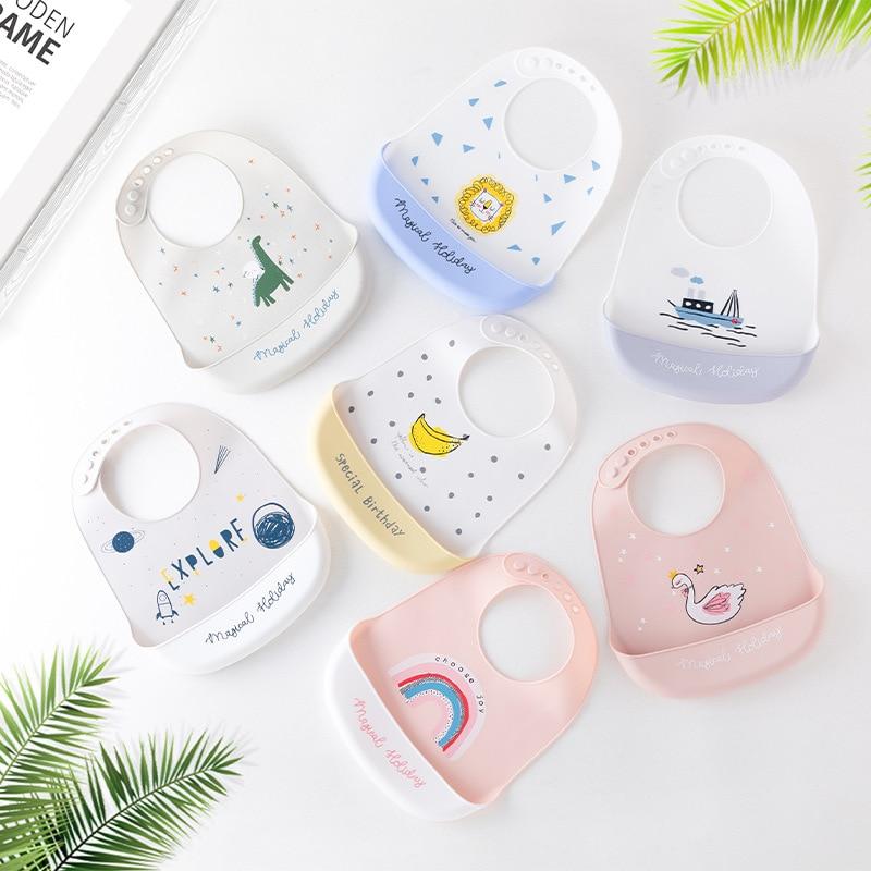 Baby Bibs Waterproof No-wash Silicone Bib Feeding Baby Newborn Cartoon Aprons Adjustable Burp Cloths Baby Stuff