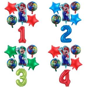 1 Set Super Mario Balloons 30 Inch Number Globos Boy Girl Birthday Party Decoration Cartoon Game Theme Supplies Kids Toys