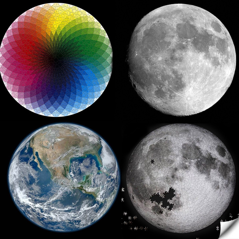 Jigsaw Puzzles 1000 Pieces Rainbow Round Puzzle Moon Earth Puzzles Adult Kids DIY Educational Toy Jigsaw Puzzle