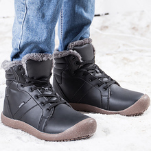 купить Snow boots men Large Size 45-48 PU leather boots Waterproof Ankle Boots Wedges Lace Up Short Plush Warm Winter boots men дешево