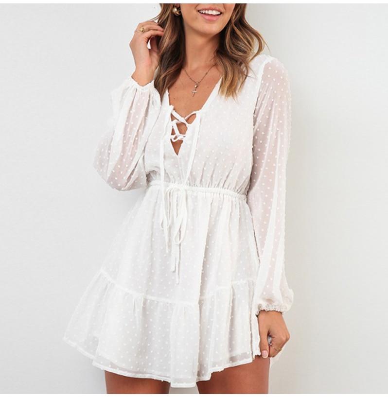 Elegant Ruffles Lace Up Long Sleeve White Mini Dress 1
