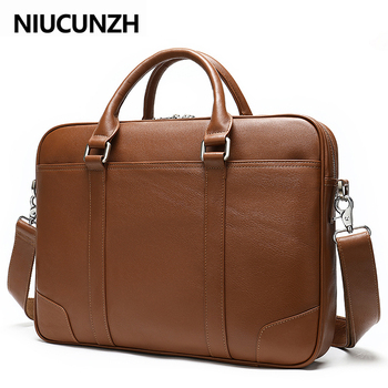 NIUCUNZH Men's Briefcase Genuine Leather 14 Inch Laptop Bag Men Leather Office Bags Business Bag For Documents Bags Male black genuine leather women handbag business briefcase bag women s 14 inch laptop bags female cow leather diamond lattice bag