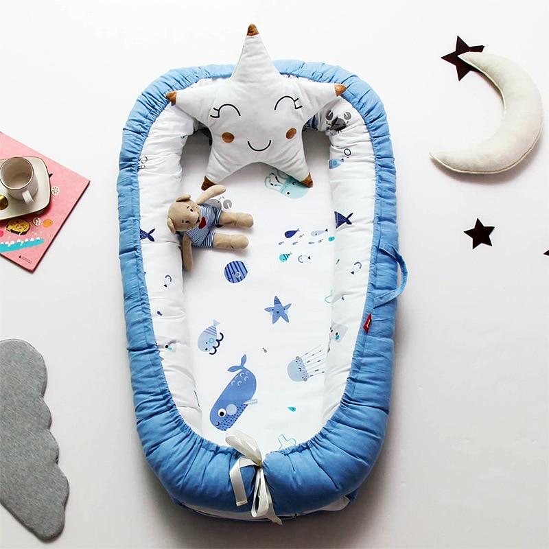 Bébé Portable chaise longue blottir bébé nid couffin réversible Co couchages nouveau-né pare-chocs respirant et hypoallergénique berceau