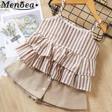 Girls Clothes Suits 2019 New Summer Style Children Bow Lace Sling Striped Short Pants Sets For 3-7y Kids Sleeveless