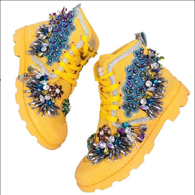 Fireworks custom Ming Huang heavy work Italian pearl beaded ladies wild fashion Martin boots shoes - 2