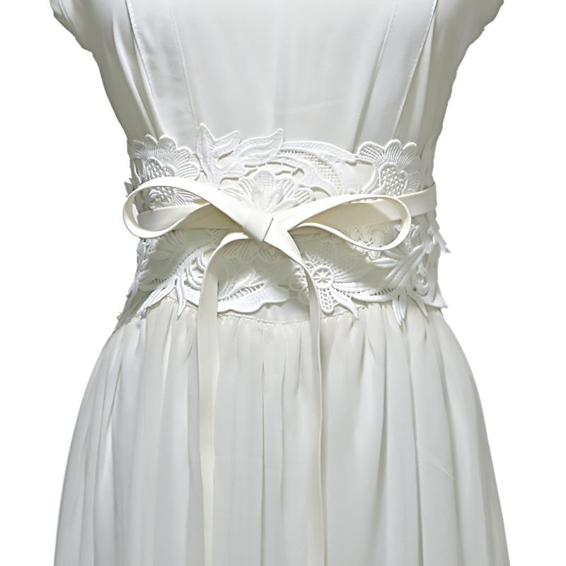 New Lace Patchwork Design Waistband Women Wide Belt Ribbon Bow Tie Cummerbund Fashion Belts Decoration Gifts VKAC1013