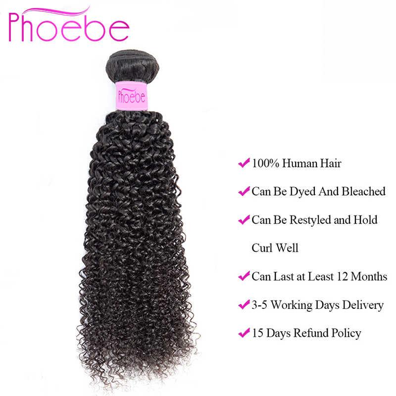 Phoebe Kinky Curly Bundles With Closure Human Hair Bundles With Closure Non-Remy Peruvian Hair Weave Bundles For Black Women