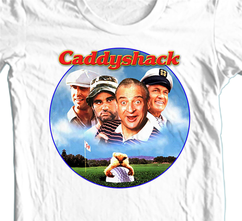 Caddyshack T-Shirt Retro 1980'S Golf Movie 100% Cotton Graphic Printed White Tee Gym Tee Shirt image