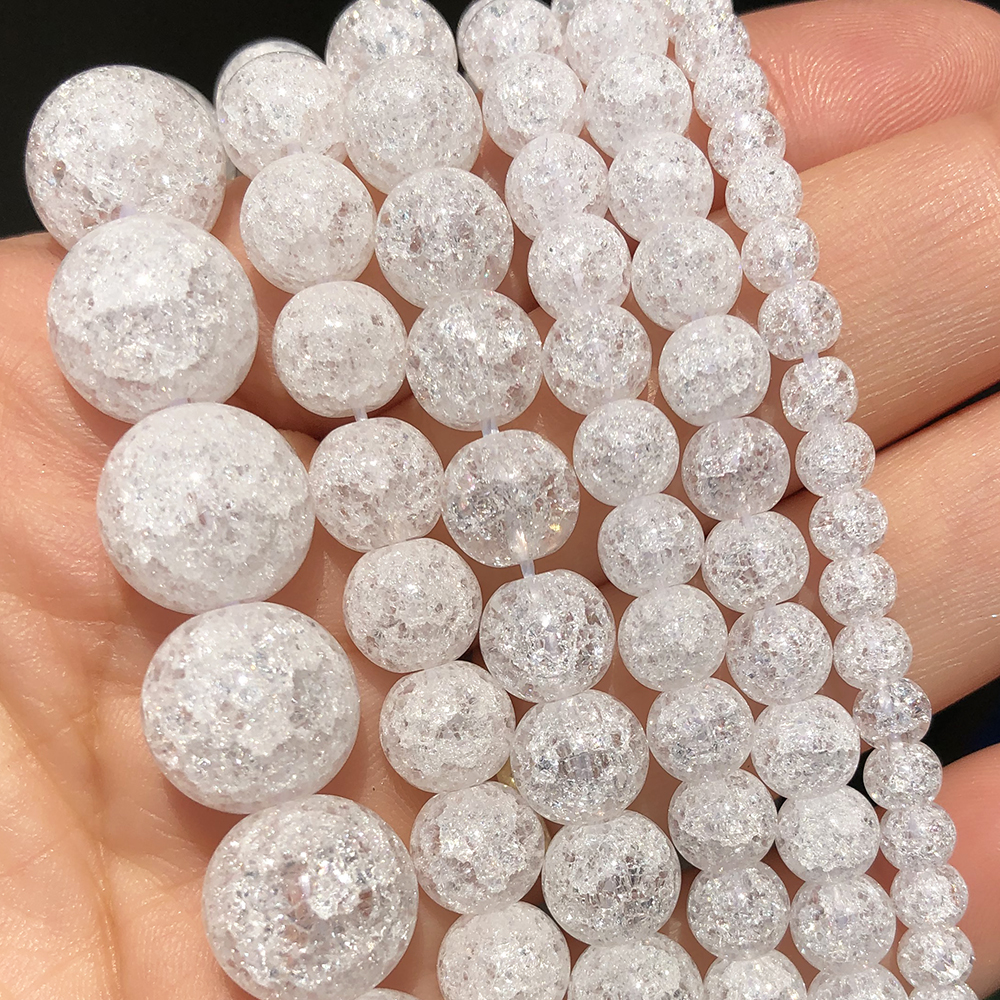 4 6 8 10 12mm White Cracked Crystal Beads Round Loose Spacer Beads for Jewelry Making DIY Bracelet Charms Accessories 15''Inches