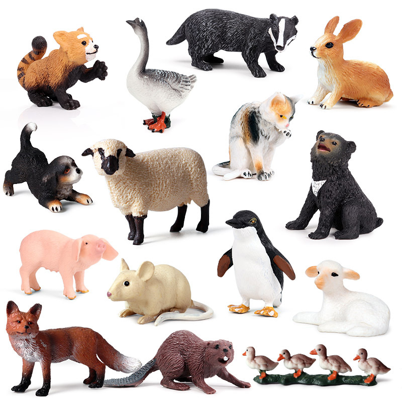 Action&Toys Figure Wild Life Zoo Jungle Farm Animals Model Rooster Goat Duck Otter Kids Educational Toy For Children Gift