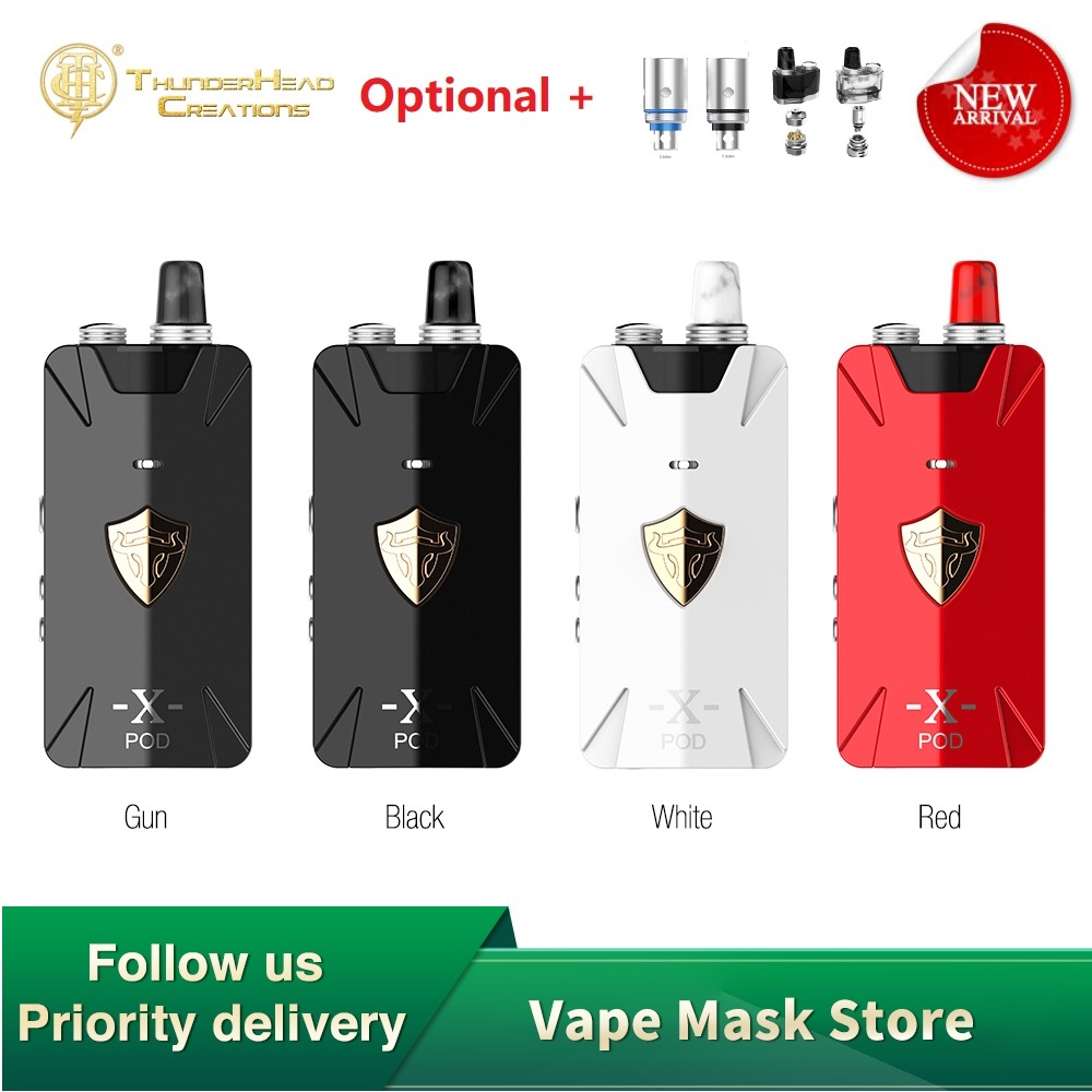 Original THC Tauren X Pod Kit 1000mAh Built-in Battery & 2ml Pod 0.42 Inch OLED Screen E-cig MTL /DTL Vape Kit VS VINCI/ZETA AIO