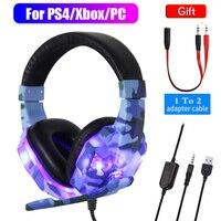 Camouflage Gaming Kopfhörer mit Mikrofon Für Pubg/Fifa LED Licht Wired headset Für PC Laptop PS4 Xbox