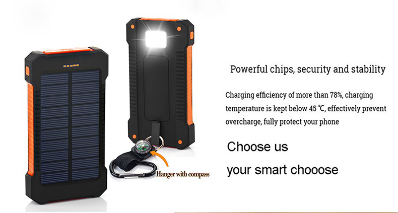 Waterproof Solar Power Bank with Polycrystalline Solar Panel with 2 USB Output Ports and Flashlight 1
