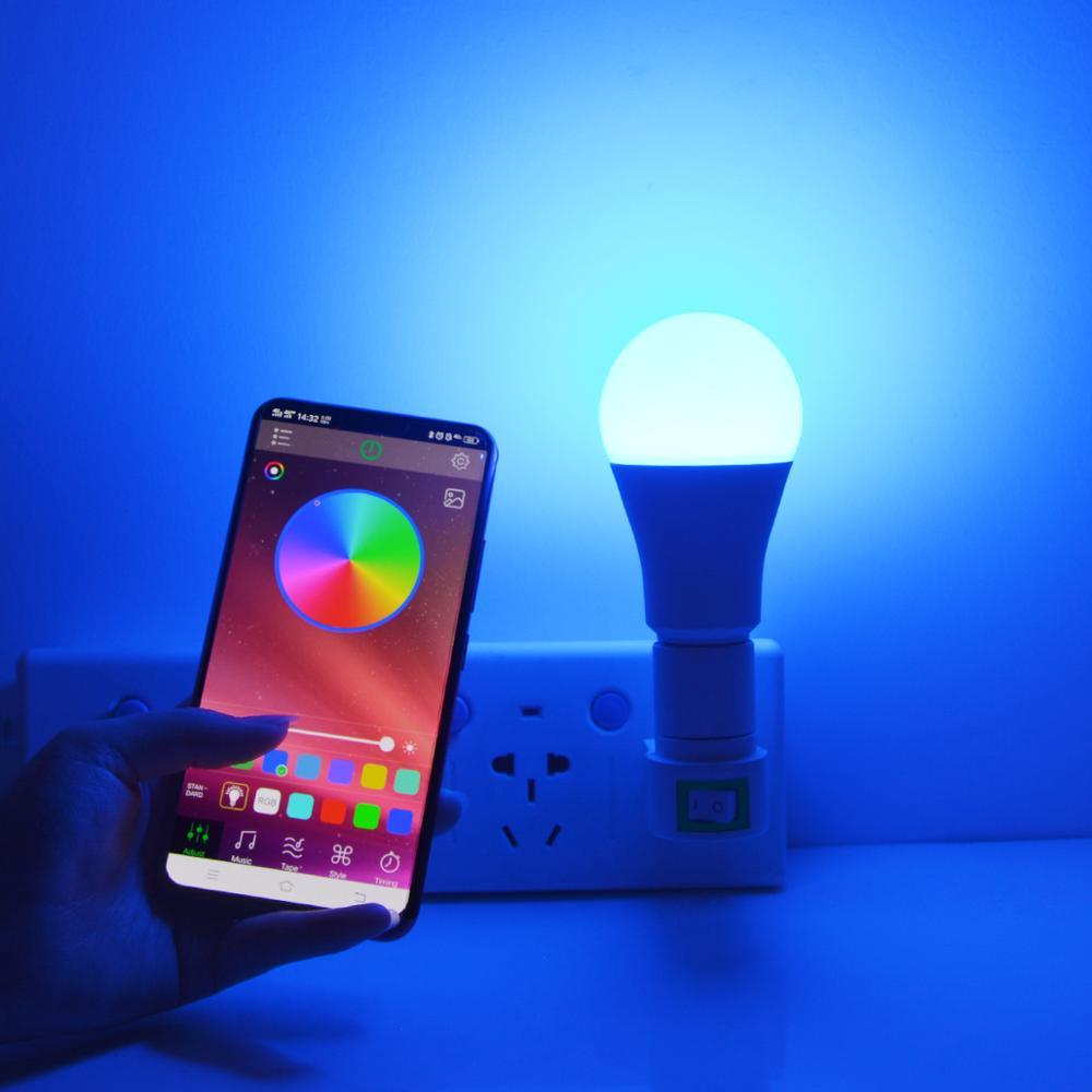 Беспроводная умная лампа Bluetooth неоновый светодиодный светильник E27 AC85 265V светодиодный волшебный Домашний Светильник ing RGB RGBW RGBWW с регулируемой яркостью Неоновые лампы и трубки      АлиЭкспресс