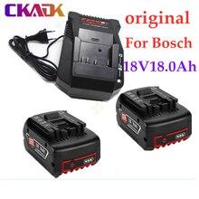 100% original 18V18000mAh refermable pour Bosch 18V18.0Ah batterie de secours remplacement portable BAT609 indicateur lumineux + chargeur 3A
