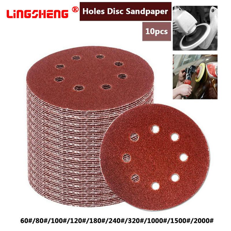 10 Pcs 5 Inch 125mm Round Sandpaper Eight Hole Disk Sand Sheets Grit 60-2000 Hook And Loop Sanding Disc Polish
