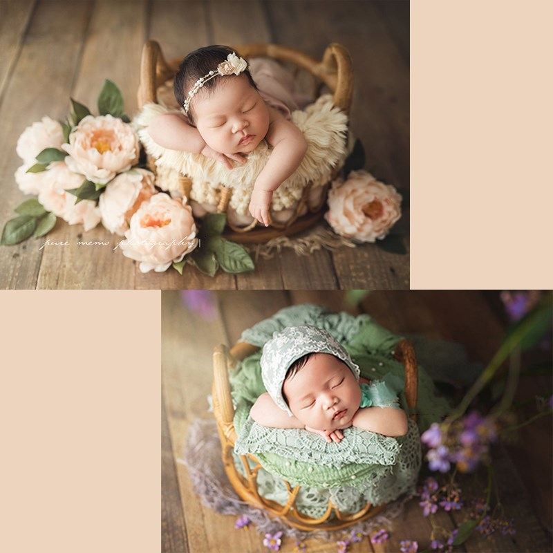 New Newborn Photography Props Retro Rattan Round Basket Lying Container Baby Shooting Decoration Supplies Studio Props Kids Toys
