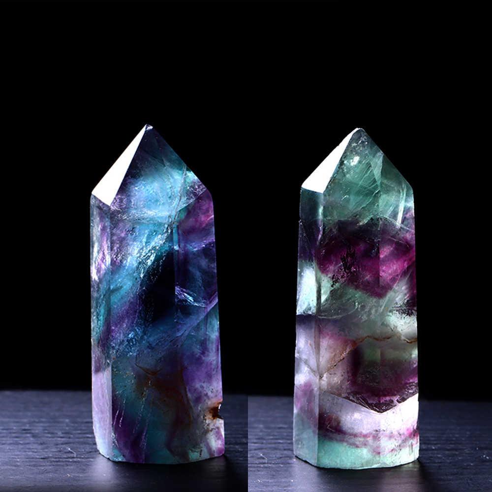 1PCธรรมชาติFluoriteคริสตัลที่มีสีสันFluoriteคริสตัลควอตซ์คริสตัลหินHealing Hexagonal Wand Treatmentหิน 30-74 มม.