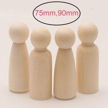 5 unids/lote 75mm/90mm madera pintada muñecas de Peg artesanías de madera de los niños DIY juguetes hechos a mano de casa o guardería decoración en blanco inacabada Peg muñeca